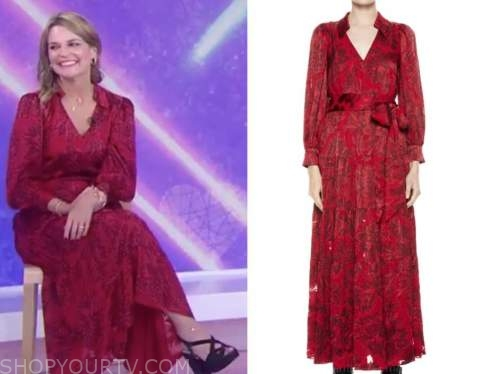 savannah guthrie, the today show, red printed maxi dress
