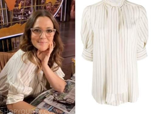 drew barrymore, drew barrymore show, ivory striped blouse