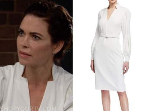 victoria newman, amelia heinle, the young and the restless, white belted dress