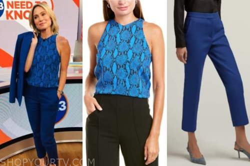 amy robach, blue snakeskin top, blue pants, good morning america