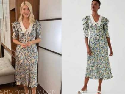 holly willoughby, floral collar midi dress, this morning