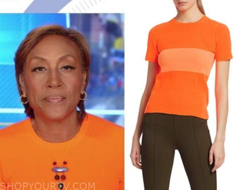 robin roberts, good morning america, orange knit top
