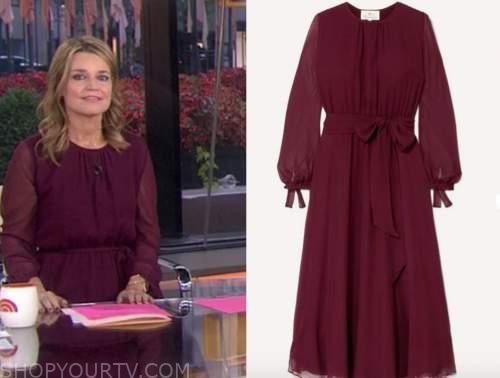 savannah guthrie, the today show, burgundy long sleeve dress