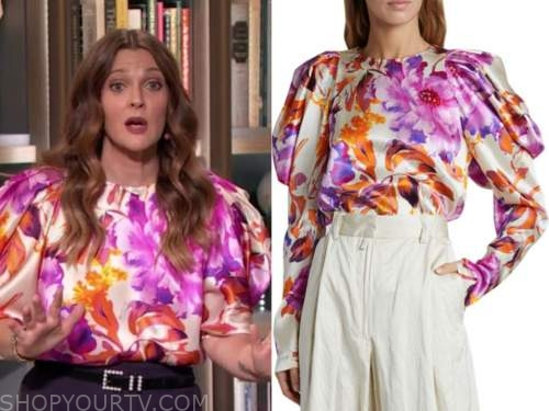 drew barrymore, the drew barrymore show, floral satin puff sleeve blouse