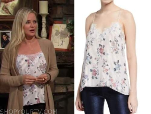 sharon newman, sharon case, striped floral lace camisole, the young and the restless