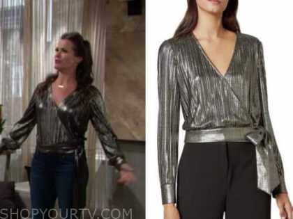 chelsea newman, melissa claire egan, the young and the restless, metallic pleated wrap top