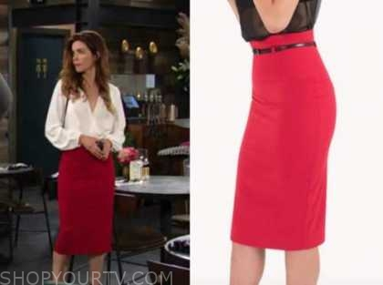 the young and the restless, victoria newman, amelia heinle, red pencil skirt