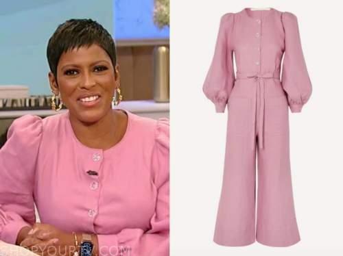 tamron hall, tamron hall show, pink button down jumpsuit
