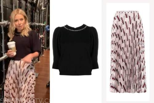 kelly ripa, live with kelly and ryan, black embellished sweater, pink pleated skirt
