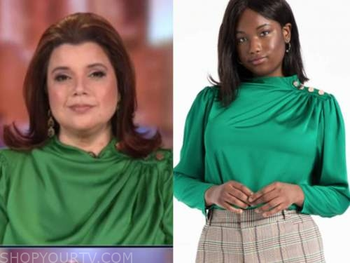 ana navarro, green satin button shoulder blouse, the view