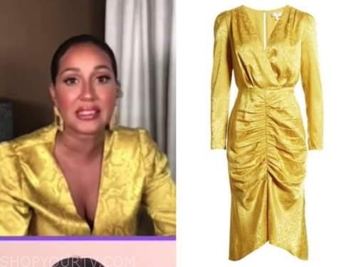 adrienne bailon, yellow jacquard snakeskin dress, the real