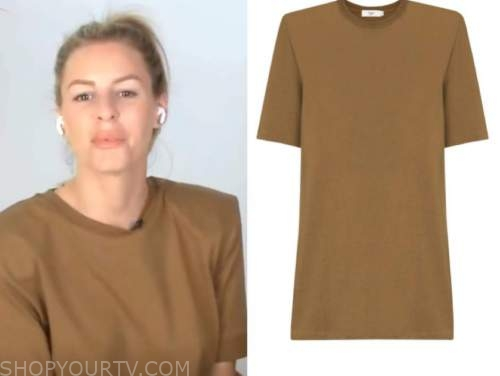morgan stewart, brown padded t-shirt dress, E! news, daily pop