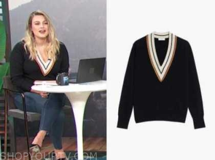 carissa culiner, E! news, daily pop, v-neck contrast trim sweater
