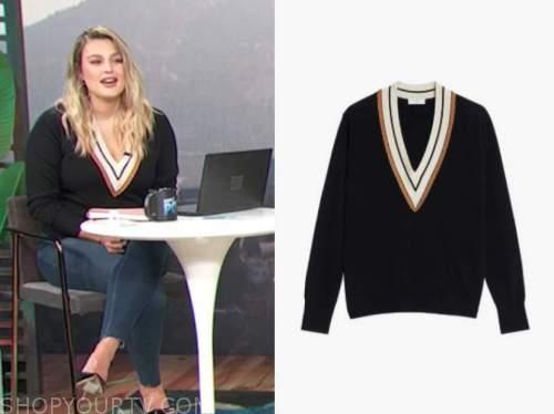 carissa culiner, E! news, daily pop, v-neck contrast trim sweater