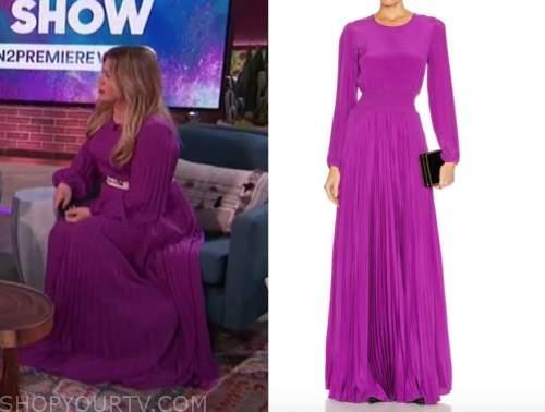 kelly clarkson, the kelly clarkson show, purple pleated maxi dress