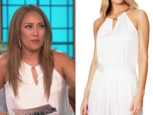 carrie ann inaba, the talk, white chain halter keyhole top