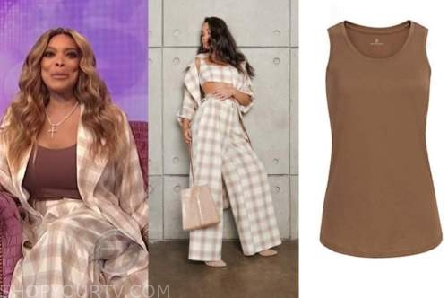 the wendy williams show, wendy williams, plaid jacket and pants, brown tank top