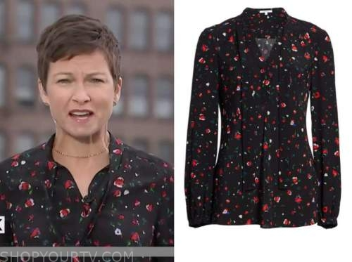 stephanie gosk, the today show, black and red printed tie neck blouse