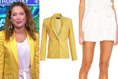 ginger zee, good morning america, yellow blazer and white shorts