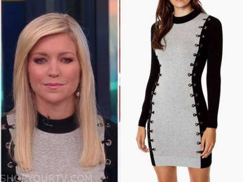 ainsley earhardt, fox and friends, black and grey grommet dress
