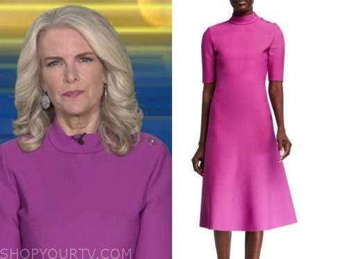 janice dean, fox and friends, pink button shoulder dress