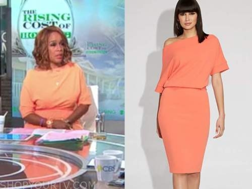 gayle king, cbs this morning, orange dress