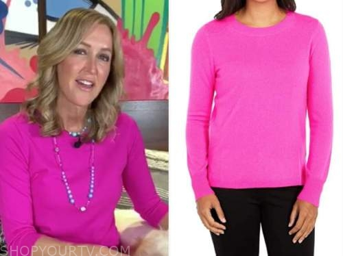 lara spencer, good morning america, hot pink sweater