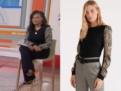 sheinelle jones, snakeskin sleeve sweater, the today show