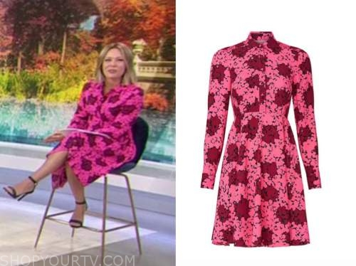 dylan dreyer, the today show, pink and red floral shirt dress