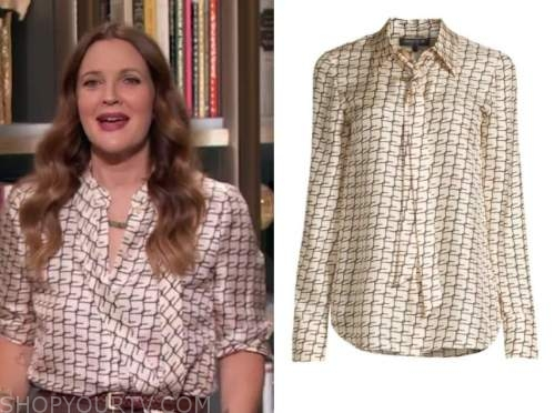 drew barrymore, drew barrymore show, silk grid tie neck blouse