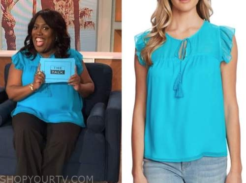 sheryl underwood, turquoise flutter sleeve top, the talk