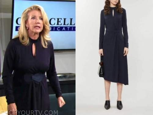 nikki newman, melody thomas scott, the young and the restless, navy blue keyhole dress