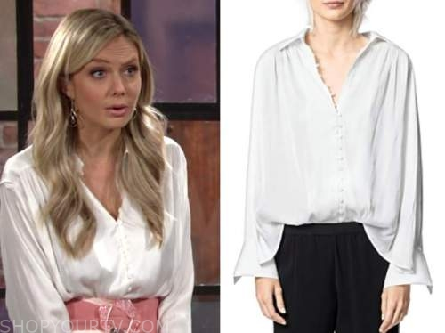 abby newman, melissa ordway, the young and the restless, white button satin shirt