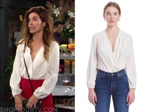 victoria newman, amelia heinle, the young and the restless, ivory criss cross top