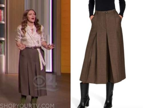drew barrymore, drew barrymore show, brown check culottes