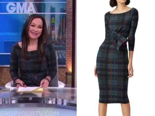 eva pilgrim, good morning america, plaid belted sheath dress