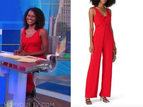 janai norman, good morning america, red jumpsuit