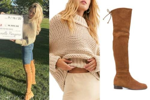 janelle pierzina, big brother, instagram fashion, beige sweater, brown boots