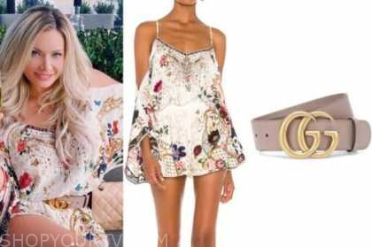 janelle pierzina, floral cold-shoulder romper, pink belt, instagram fashion