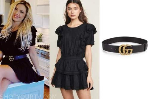 janelle pierzina, black ruffle dress, black belt, big brother fashion