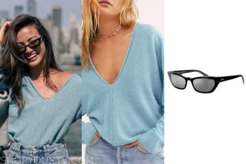 caila quinn, blue sweater, black sunglasses, the bachelor