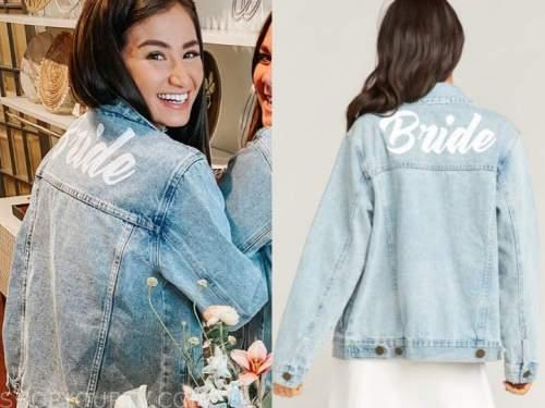 caila quinn, bride denim jacket, the bachelor
