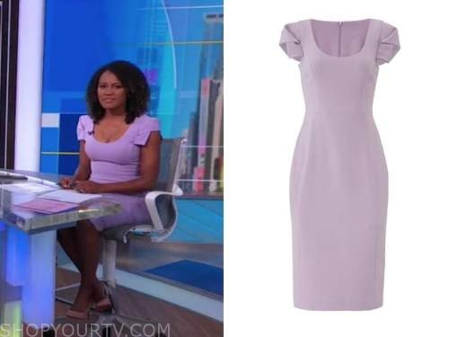 janai norman, good morning america, purple sheath dress