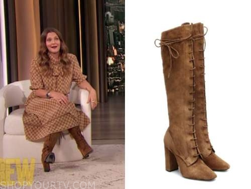 drew barrymore, drew barrmore show, brown suede lace-up boots