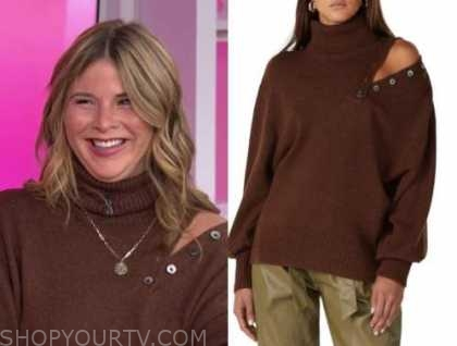 jenna bush hager, the today show, brown turtleneck button sweater