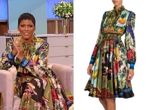 tamron hall, tamron hall show, fruit print silk shirt dress