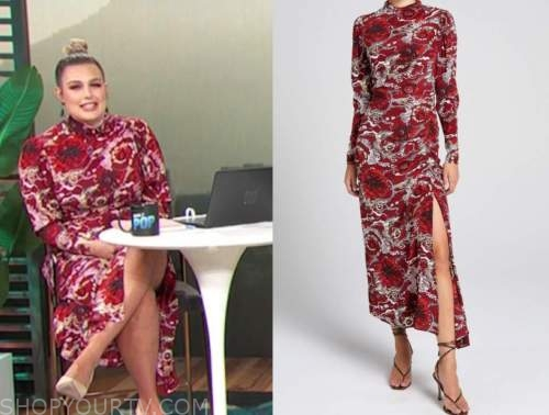 carissa culiner, E! news, daily pop, red floral turtleneck midi dress