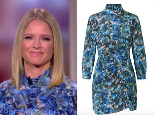 sara haines, blue floral turtleneck dress, the view