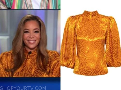 sunny hostin, the view, orange satin puff sleeve blouse