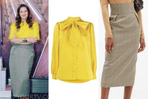drew barrymore, drew barrymore show, yellow tie neck blouse, midi skirt